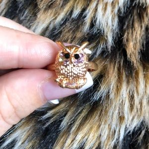 🤍Adorable Owl on a stick gold ring🤍